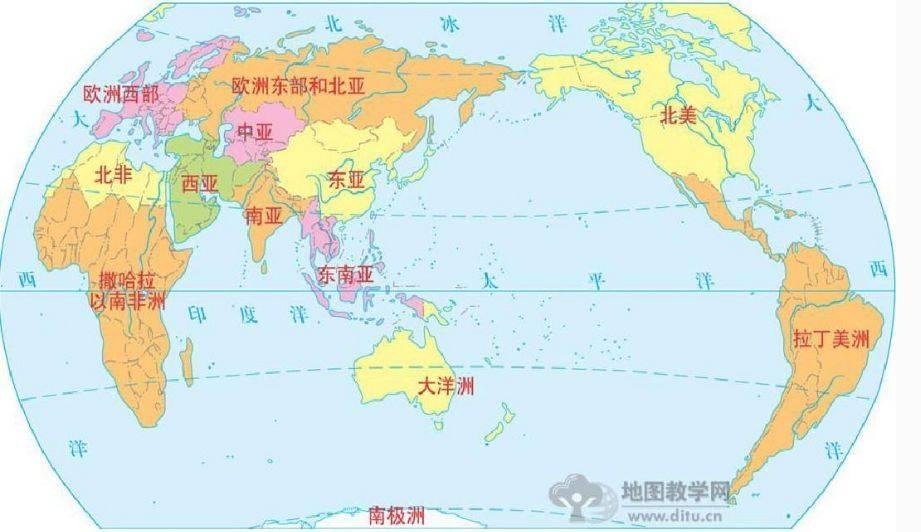 在亚洲可以分为北亚,东亚,东南亚,南亚,中亚和西亚.图片